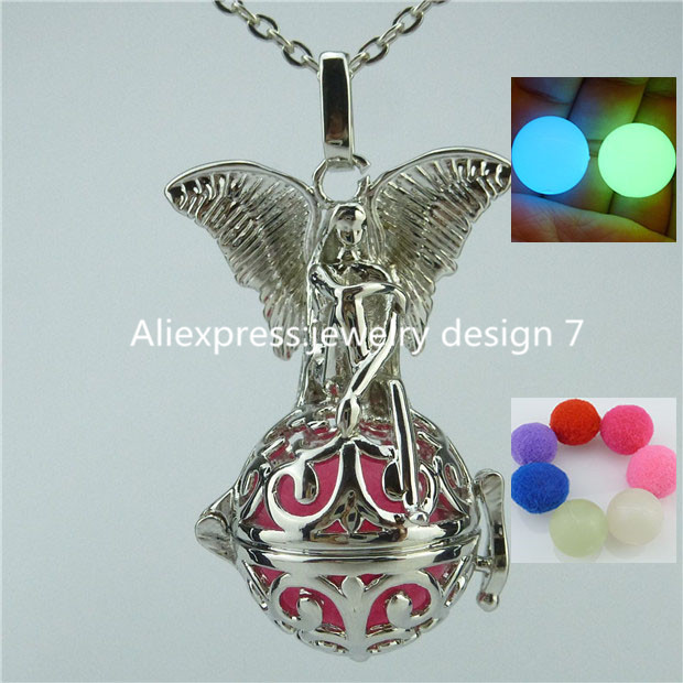 14149 Glow In The Dark Copper Angel Elf Locket Necklace Cage For Fragrance Essential Oil Aromatherapy Diffuser(China (Mainland))