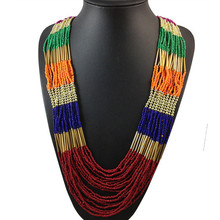 4 Colors Bohemian Elegant Fashion Multilayer Long M Beads Necklace Jewelry Charm Statement Women Party Christmas Gift