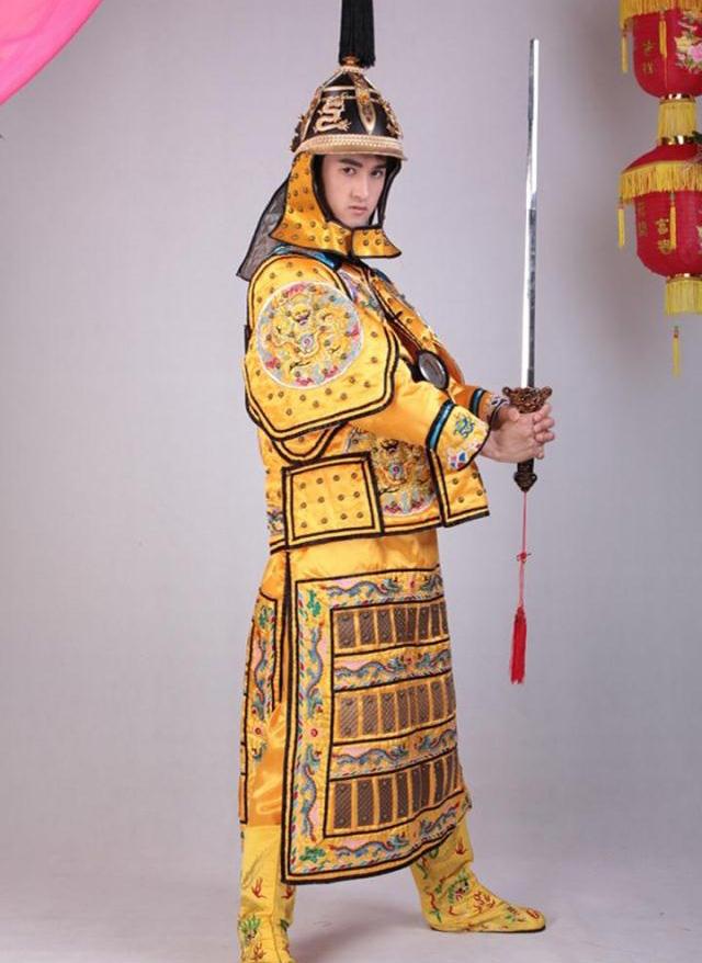 Chinese-ancient-samurai-armor-habergeons-flag-golden ...