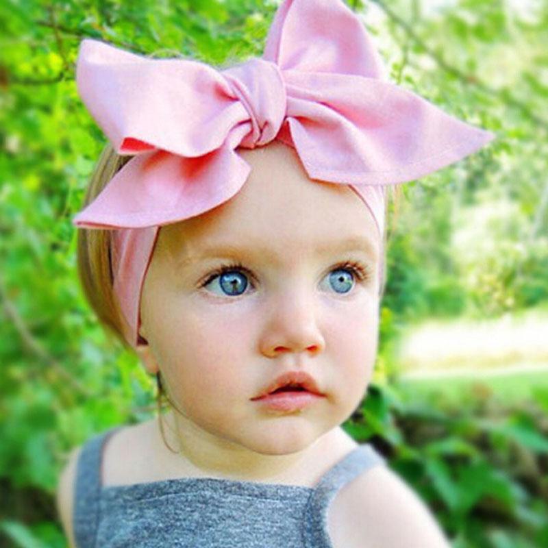 1 PC DIY Baby Kid/Girl Turban Knot Headband Big Bow Adjustable Solid Rabbit Head Wrap Hair Band Accessories(China (Mainland))