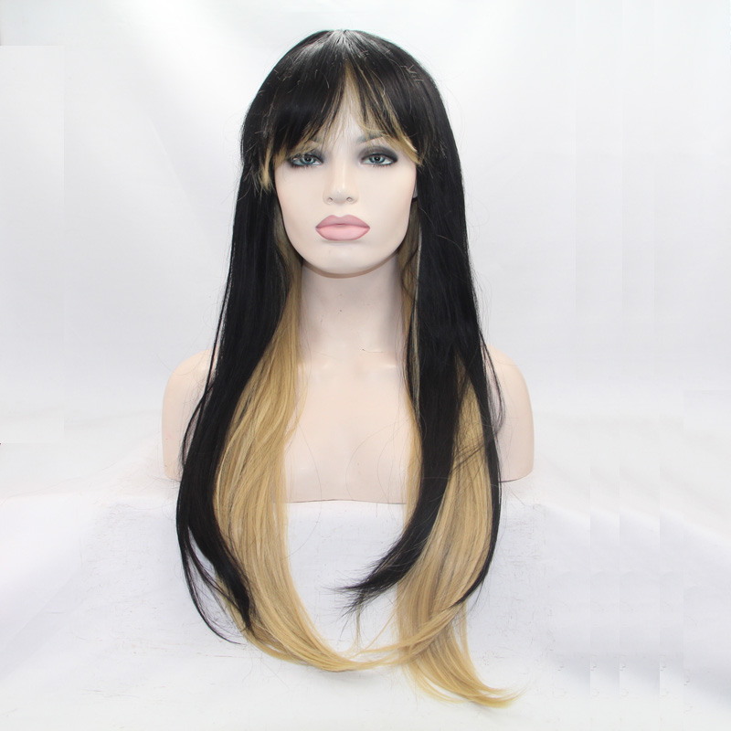 New arrival black mix blonde silky straight wigs with orderly bangs high quality synthetic lace front wig heat resistant fiber<br><br>Aliexpress