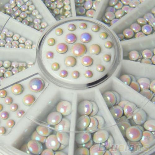 Acrílico 1000 pçs/set 3 tamanhos branco Multicolor rebites Nail Art Glitter Rhinestone decoração 0BUC