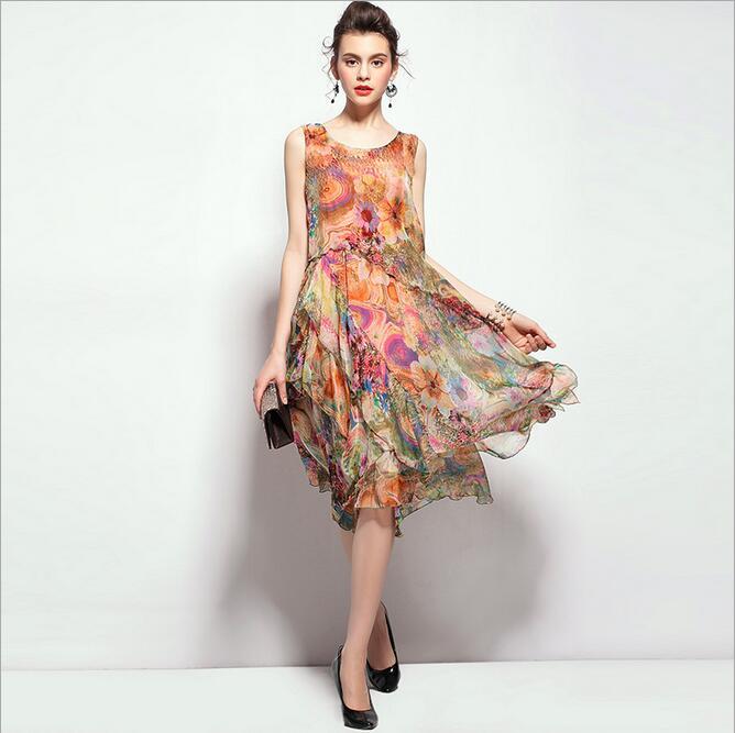 Women Dress 2016 Summer Style Suit-Dres Summer Dress Fashion Boutique Party Dresses Round Collar Real Silk Ukraine Evening PartyОдежда и ак�е��уары<br><br><br>Aliexpress