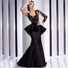 Buy Lace Applique Tulle Mermaid Evening Dresses Women Jewel Party Prom Dress 2016 Long Sleeves Vestido De Festa Longo for $128.00 in AliExpress store