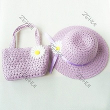 Girls Kids Beach Hats Bags Flower Straw Hat Cap Tote Handbag Bag Suit Children Summer Sun Hat(China (Mainland))