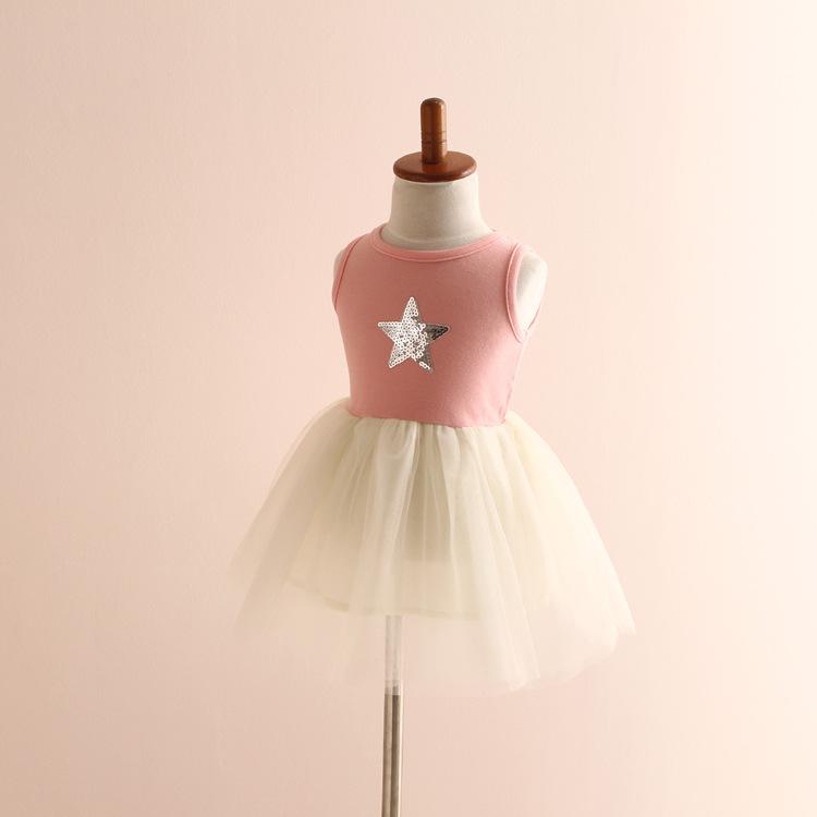 Wholesale Cotton Sequin Star Baby Frock Designs Princess Reine Des Neiges Cinderella Dress Catimni Girl Clothing(China (Mainland))