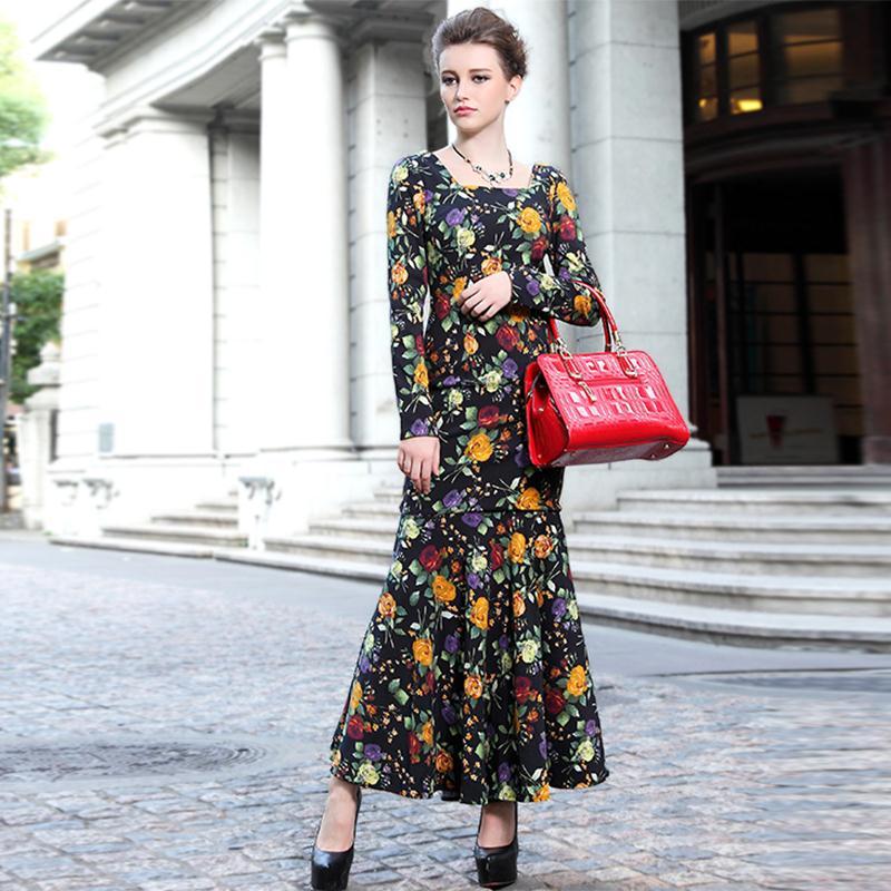 Floral Print  Mermaid Dress 2016 Autumn Winter Retro Full Sleeve New Brand Fashion Slim Novelty Runway Square Collar Women DressОдежда и ак�е��уары<br><br><br>Aliexpress
