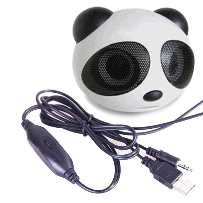 universal Cute Panda Shape usb Portable Mini Stereo Speaker for Desktop Laptop Notebook Cellphone High quality(China (Mainland))