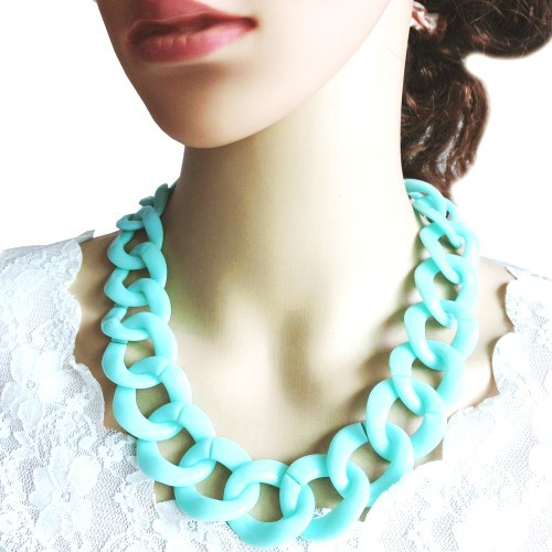 2016 New Fashion Shiny Hot Selling Summer Style Mint Green Neon Color Chunky Chain Acrylic Choker Necklace for Women(China (Mainland))