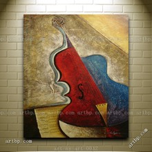 Contemporary Oil Painting Of Abstract Musical Instrument Cello Portrait Artist Brush Modern Impressionist Art(China (Mainland))