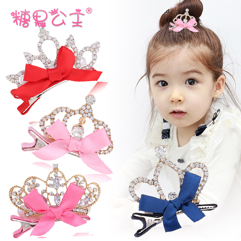 Special Offer Limited Women Synthetic Leather Children Hair Bow Knot Stereo Crown Baby Accessories Hairpin(China (Mainland))