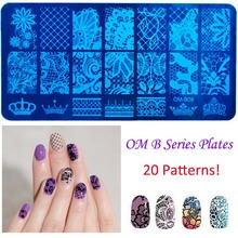 2016 20 Styles DIY Image 12x6cm OM Series Stamping Plates Fashion Nail Art Templates Stencils Salon