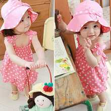 1Set 0-36M Baby Girl Toddler Infant Girls Pink Dot Dress+Hat Outfit Clothes Hot Free Shipping(China (Mainland))