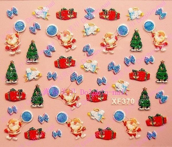 20pcs/lot Nail art 3d applique nail polish oil colored drawing christmas xf370(China (Mainland))