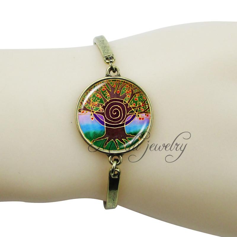 Family tree glass bracelet indian mandala bangle vintage bronze hand chain bracelet for women om spiritual pendant charms gift(China (Mainland))