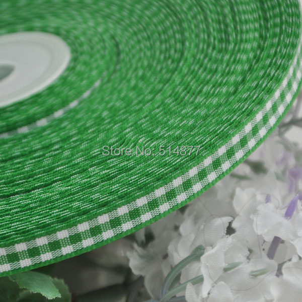 2 8 6mm Green font b tartan b font plaid ribbon bows appliques craft sewing doll