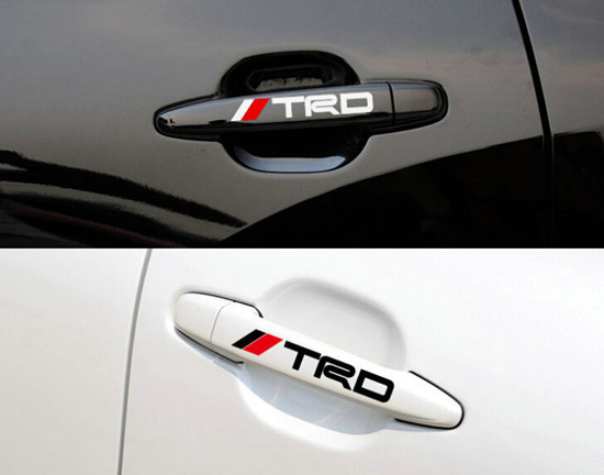 Car styling TRD Car door handle reflective sticker Car body decorative vinyl doorknob stickers for toyota corolla rav4 camry(China (Mainland))