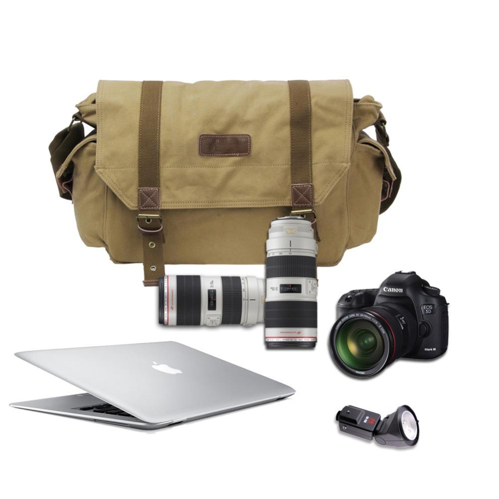 2015 Men Vintage Canvas +Cotton SLR DSLR Camera Bag Case Shoulder Messenger Bag Cameras For Canon EOS,sj4000,Olympus(China (Mainland))