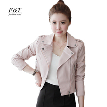 2016 New Autumn Winter Women Leather Jackets Soft Pu Pink Leather Coats Short Design Slim Cute Faux Leather Motorcycle Outwear(China (Mainland))