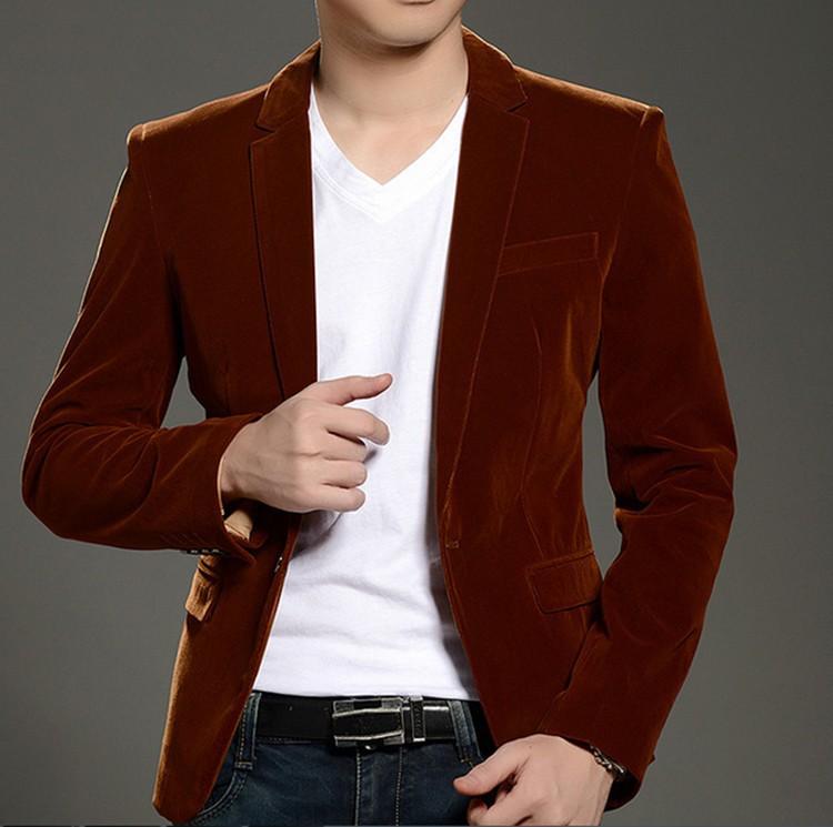 Альфа 2015 мужчины бархат блейзер уменьшают подходящую мода карманный дизайн мужские свободного покроя пиджак вино-красный синий оранжевый черный 3XL Большой размер пиджак