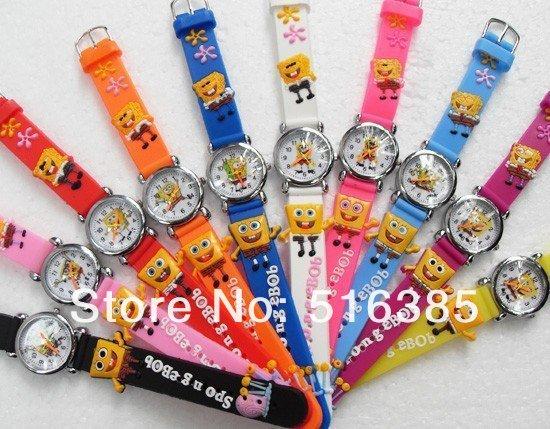 Lovely 3D Cartoon spongebob Watch Children Kids Boys Students Quartz Wristwatches.free shipping 10pcs/lot<br><br>Aliexpress
