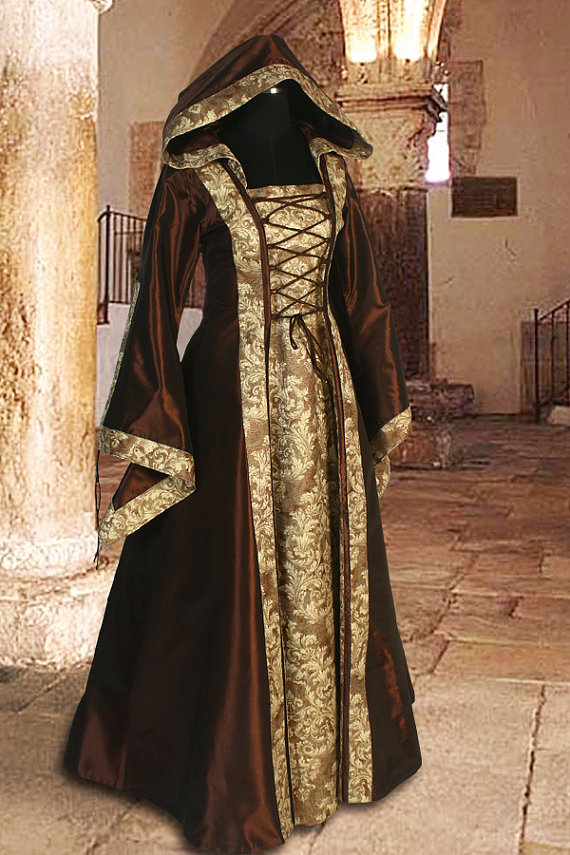Medieval Dress Gown Renaissance Clothing with hood Sorceress Gown witch Medieval Dress(China (Mainland))