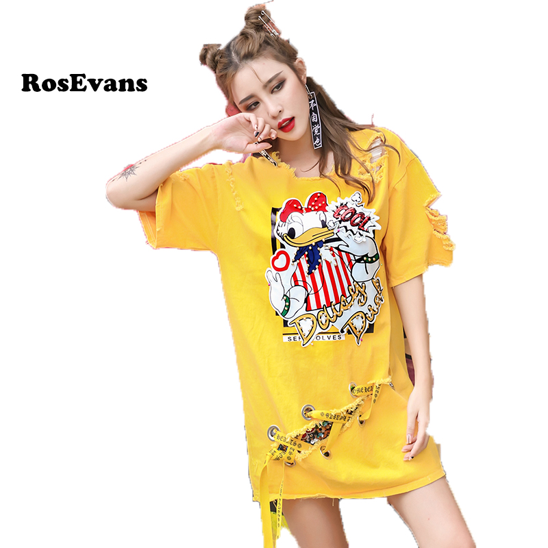 RosEvans Summer Spring Newest Bandge Donald Duck Jean T-shirt Style 2017 New Thailand Personality Pullover Female Tops B407(China (Mainland))