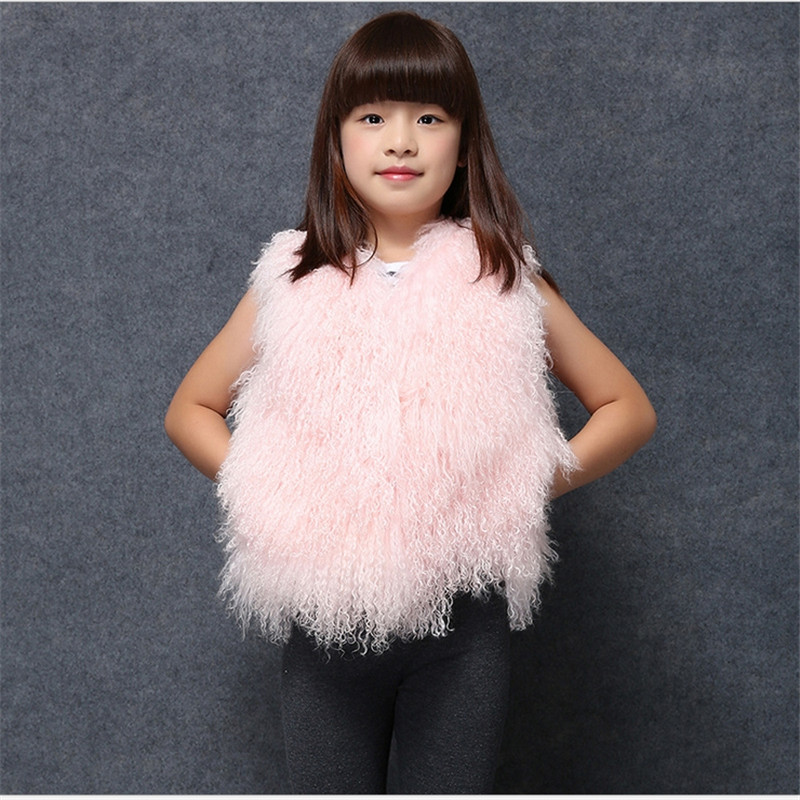 New Fashion 2016 Children Real Beach Wool Fur Vest Boy Girls Autumn Winter Warm Thick Wool Fur Vest Coat Clothes Free Shopping(China (Mainland))