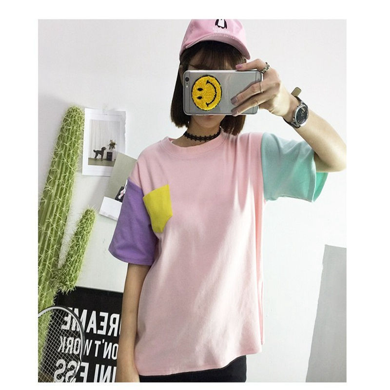 2016 Women's T-Shirt Summer Korean Style Clothes O-neck Tee Solid Patchwork Bottoming Classic Top Free Shipping(China (Mainland))