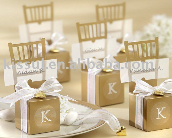 Wedding candy boxes of Miniature Gold Chair Favor Box with Heart Charm and Ribbon(name card available) 120pcs/lot