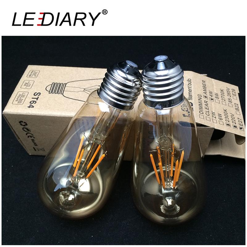 Dimmable Amber ST 64 E27 LED Filament Bubble Ball Bulbs 2300K Antique Retro Vintage Edison LED E27 Amber Lamp 4W/6W 360 degree(China (Mainland))