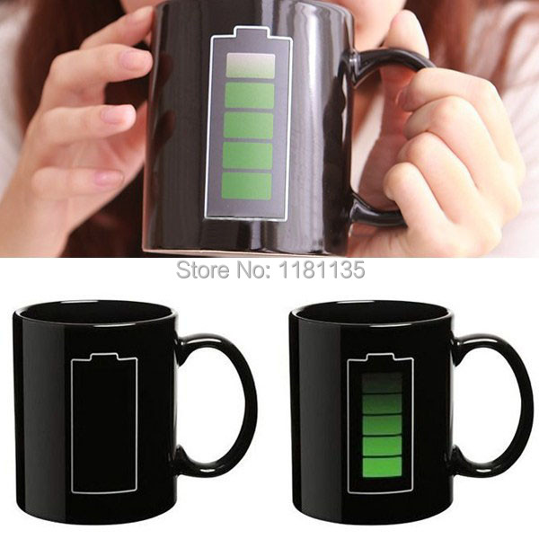 Magic Mug Porcelain Battery Coffee Heat Hot Cold Temperature Sensitive Reactive Cup Christmas Gift(China (Mainland))