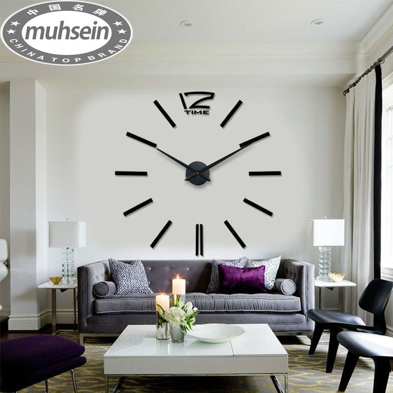 Free shipping fashion 3D big size wall clock mirror sticker DIY wall clocks home decoration wall