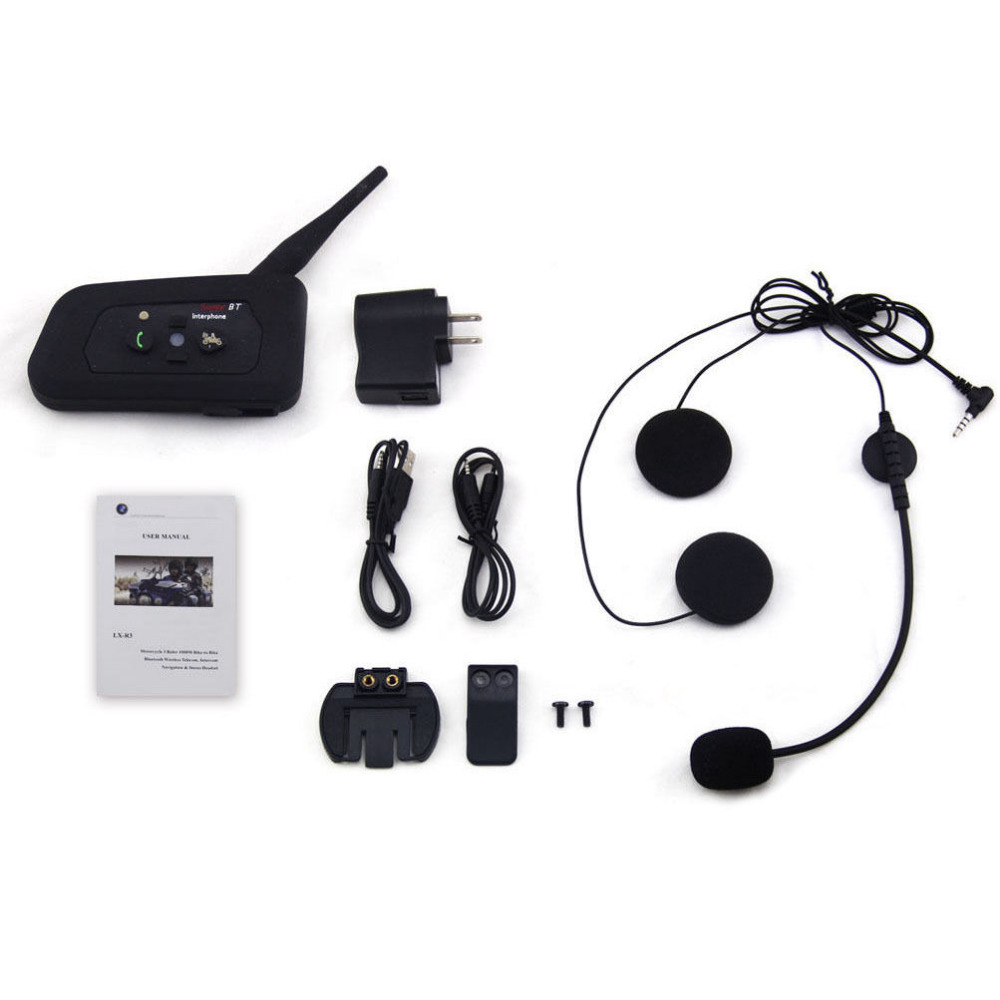 Newest  R3 Wired Helmet Intercom 1200M Motorcycle Bluetooth Intercom Headset BT interphone Communicator Capacete for 3 Riders