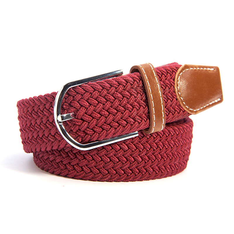Men Women Canvas Plain Webbing Metal Buckle Woven Stretch Waist Belt 31 Colors