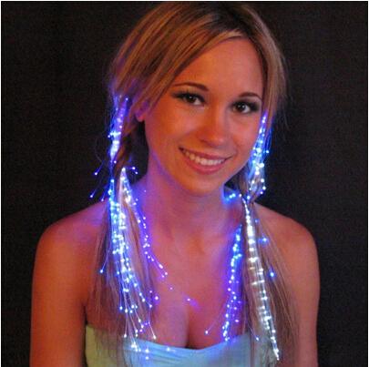 Party Light Hair Fiber Optic Flashing Luminous braid Headwear Flashing Toys Free Shipping(China (Mainland))