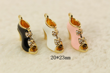 10pcs Fashion Jewelry floating charms Fish shoes Gold Plated Zircon imitation Diamond charm Bracelet For Women diy Accessories