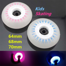 64mm 68mm 70mm 90A Children Kid Inline Skates Wheel with Blue Pink LED Flash Shine Light, Cool in Darkness and Night(China (Mainland))