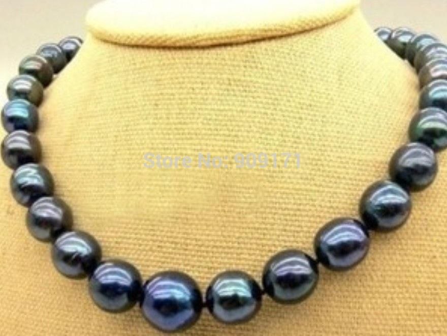 New 10-11mm Tahitian Black Natural Pearl Necklace 18 AA+<br><br>Aliexpress