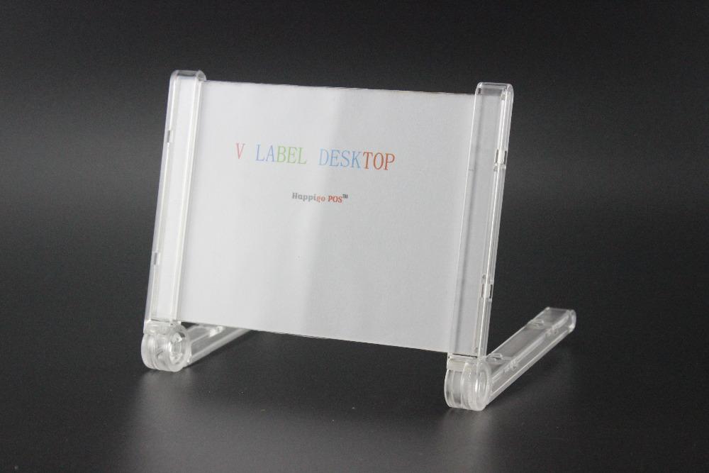 100x200mm 100 pcs Acrylic V desktop price label sign holder exibition display conference name card stand label frame(China (Mainland))