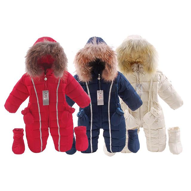 Россия зима натуральный мех детская одежда новорожденных девочек мальчиков Толстый Теплый комбинезон новорожденных bebes snowsuit вниз комбинезон дети одежда