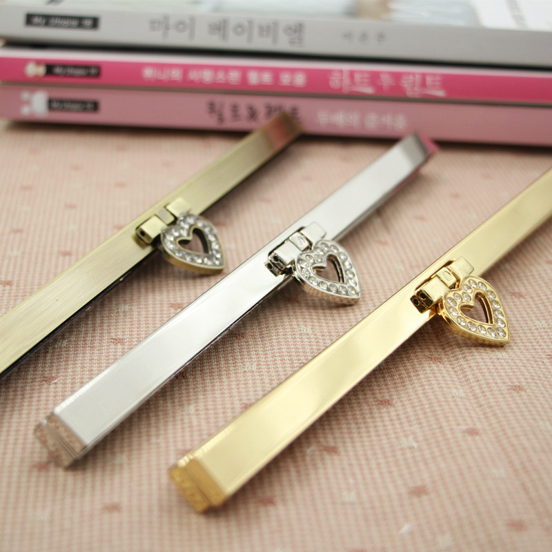 30pcs/lot 19cm heart Antique Bronze Golden Silver tone Metal Purse Frame for wallet Making DIY bags accessory(China (Mainland))