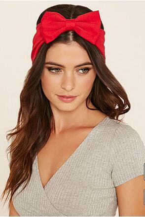 Summer Red Bow Chiffon Headband Scarf Hair Accessories for Women Stretch Hairbands Elastic Striped Bowtie Turban Headwear(China (Mainland))