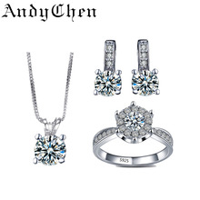 AndyChen Bridal Jewelry Sets for Women Silver Plated Earrings,Pendants Necklace&Wedding Ring Crystal Bijoux Femme AJS008