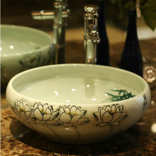 Buy China Hand Painted Lotus Ceramic Art Lavabo Countertop Bathroom Sinks Wash