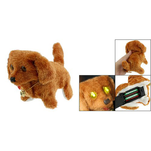 Brown Plush Neck Bell Walking Barking Electronic Dog Toy,Free Shipping(China (Mainland))