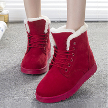 Fashion Women Boots Botas Mujer Shoes Women Winter Boots 2016 Warm Fur Ankle Boots Winter Shoes Black Red(China (Mainland))
