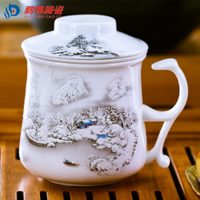 Chinese Style Bone China Ceramic Tea Cup Home Office Handpainted Porcelain Filter cup(China (Mainland))