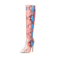WETKISS Renkli Yılan Cilt Pu Çizmeler Kadınlar Stiletto Topuklu Yüksek Çizme Kadın parti ayakkabıları Bayanlar Sivri Burun seksi ayakkabılar Kış 2020(China)