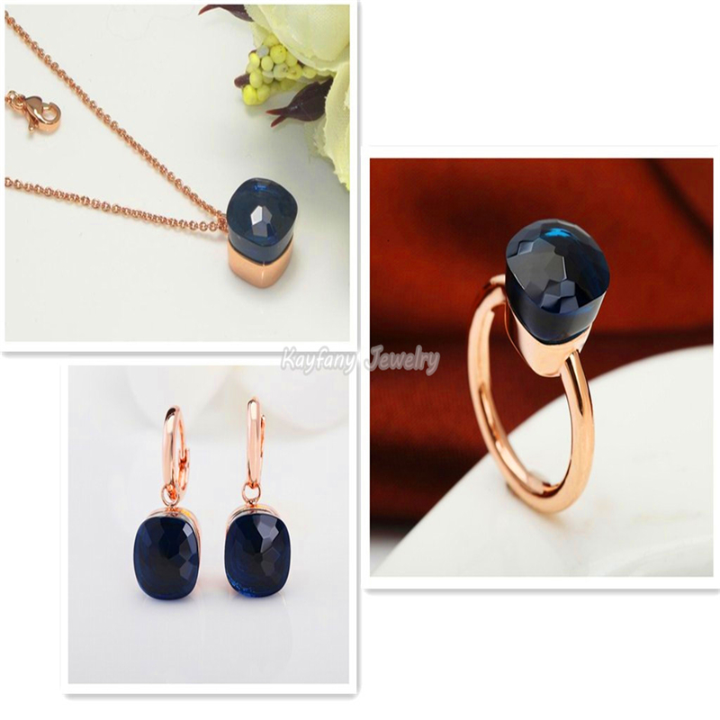 Discount Pomellato Sets Rose Gold Plated Royal Blue Crystal Sapphire Jewelry Party Communion Gift Christmas Bijoux Bagues Femme